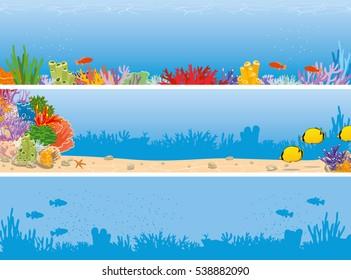 Sea reef banner. Underwater scene banner. Marine corals and fish background. Vector illustration