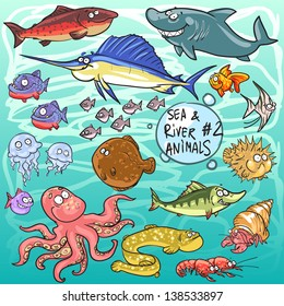 Sea and river animals - part 2. Hand drawn cartoon sea life collection