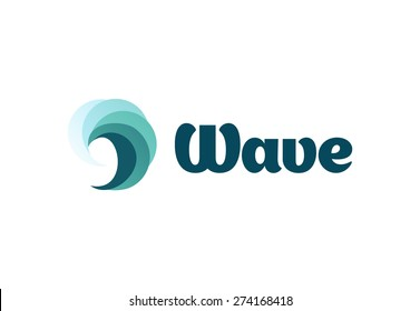 Sea or river ninth wave. Storm and tempest. Harmonious vector logo. The water of the ocean.
