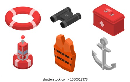 Sea safety icons set. Isometric set of sea safety vector icons for web design isolated on white background