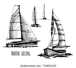 Sea  sail yachts. Active people. Extreme lifestyle. Travels. Competitions on water. A set of boats. A vector hand drawn sketch.