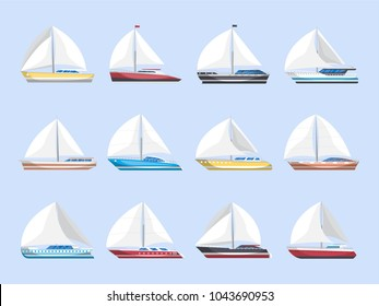 Sea sailboats side view isolated set. Luxury and speedy sail yachts vector illustration. Marine passenger cruise ships, worldwide yachting, nautical sport competition, sea or ocean vessel collection.