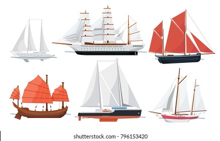 Sea sailboats side view isolated on white background. Luxury yacht, ancient oriental boat, big caravel, old brigantine vector illustration. Vintage marine cruise ships, sea or ocean vessel collection.