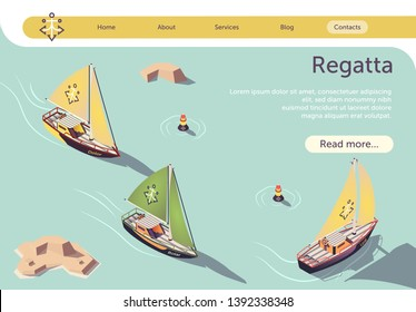 Sea Sailing Regatta Isometric Banner Design with Sail Boat Floating on Sea. Race Sailing Ship Yacht, Marine Competition or Sailboats Parade. Vector 3d Illustration with Place for Promotion Text
