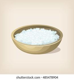 Sea salt flakes in a bowl. Vector illustration.