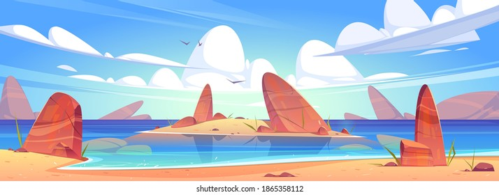 Sea sand beach, ocean coast with stones and island in water. Vector cartoon seascape with rocks, seagulls and clouds in sky. Illustration of sandy shore of lake. Summer tropical landscape