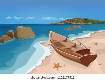 Sea, sand beach and wooden boat with oars, vector colorful graphic drawing. Sandy shore with starfish and seashells, sea waves, ocean, rocks in the sea, horizon and blue sky, and island with trees