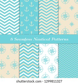 Sea and Sand Colors Nautical Patterns with Aqua Blue, Beige and White Chevron, Anchors and Compasses. Pastel Colored Marine Theme Backgrounds. Vector Repeating Pattern Tile Swatches Included.