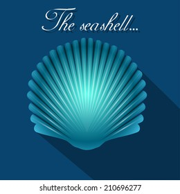 Sea scallop seashell blue icon. Vector. EPS