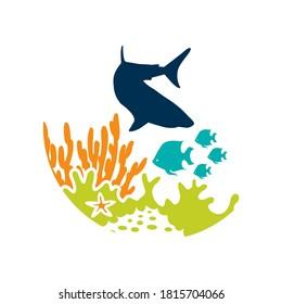 Sea scape Seaweeds and tropical fishes Underwater life icon Sign for oceanarium or aquarium