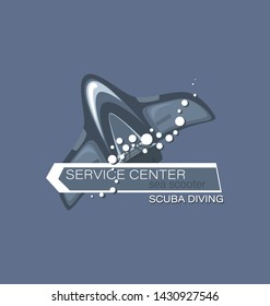 Sea scooter with an arrow. Scuba diving. Service center. Emblem on a gray background. The concept of sports diving.