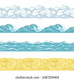 Sea seamless pattern isolated on white background. Ocean, water, sand, waves, clouds vector background in simple flat style. Set of marine illustrations, borders.