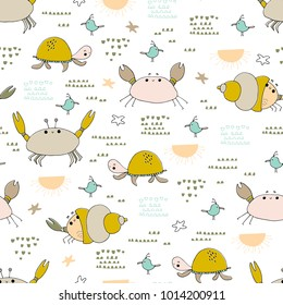 Sea seamless pattern. Underwater world, ocean creatures. Vector bright background. Can be used for wallpaper, children fashion, stationery, scrapbooking, home decor and textile, fabric prints.