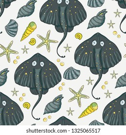 Sea seamless vector pattern. Ocean tropical exotic illustration with tropical underwater animals - stingray, sea stars, shells. Marine life. Sea background vector illustration.