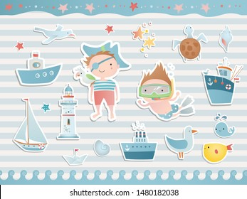 Sea set with funny children, ship, boat, fish. Scrapbook collection.