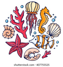 Sea set: jellyfish, coral, sea horse, starfish, shell, tropical fish, scallops, pearl. Set of simple color images.