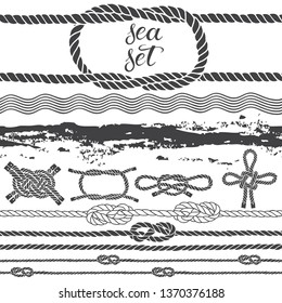 Sea set of marine rope, knots, waves and  sea texture. Vector isolated elements on a white background. Hand-drawn vector illustration.