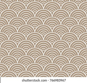 Sea shell circles seamless pattern. Art deco vector retro background.