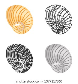 Sea shell color flat, line, simple and monochrome icons set. Vector concept