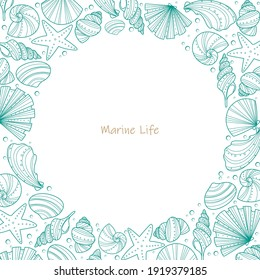 Sea shell doodle frame vector for decoration on summer holiday season and marine life concept.