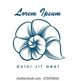 Sea shell emblem or logo. Monochrome isolated on white background.
