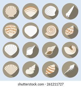 Sea Shell Flat Icons Set