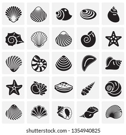 Sea Shell icons set on squres background for graphic and web design. Simple vector sign. Internet concept symbol for website button or mobile app