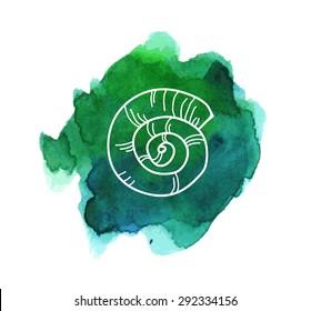 Sea shell on the bright sea-green watercolor stain