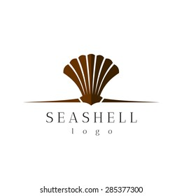 Sea shell title logo with text