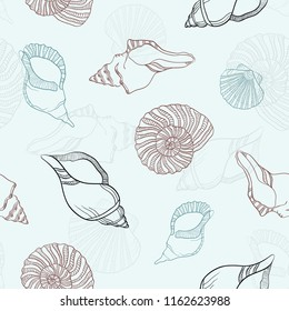 Sea shell vector pattern. Marine colors blue and brown.