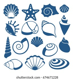 Sea shell vector silhouette icons. Sea shell spiral, illustration of sketch cockleshell