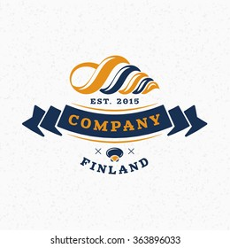 Sea Shell. Vintage Retro Design Elements for Logotype, Insignia, Badge, Label. Business Sign Template. Textured Background
