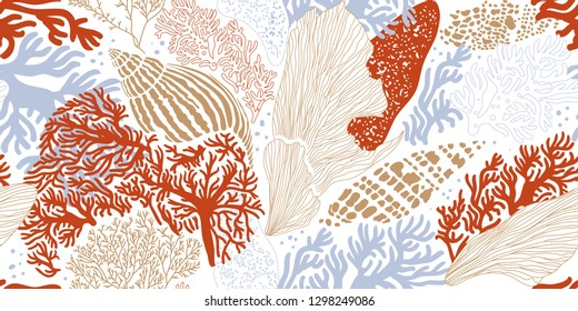 Sea shells, algae and corals. Hand-drawn seamless pattern. Vector illustration for printing, fabric, textile, manufacturing, wallpapers. Sea bottom.