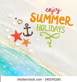 Sea shells, anchor, hearts and starfish on the beach. Sand as background for summer design. Calligraphic design element. Vector illustration. Summer holidays.