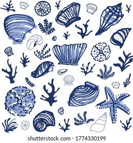 sea shells, coral and seaweed. Hand-drawn illustration with painterly style. Vector illustration for printing, fabric, textile, manufacturing, wallpapers.