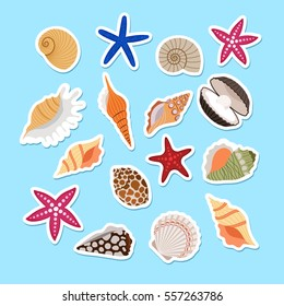 Sea shells cute stickers, vector set on light blue background.