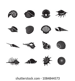 Sea shells icon set isolated on a white background, Vector illustration