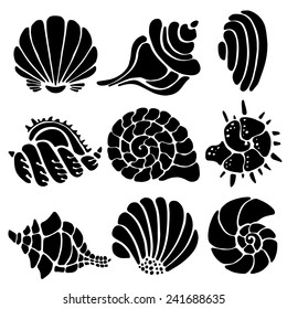 Sea shells icon set isolated on a white background, art logo design