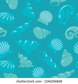 Sea shells, seamless background pattern