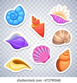 Sea shells stickers vector set. Colored cockleshell sea, illustration of sticker sea shell