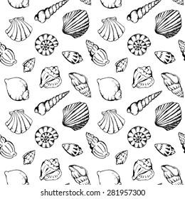 Sea shells vector monochrome seamless pattern texture background