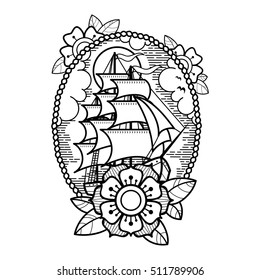 Sea ship with flowers, clouds and rope. Old school tattoo style. Tradition tattoo ink design.