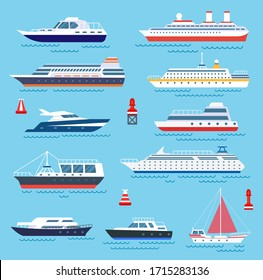 Sea ship. Vessel shipping, speedboating and yacht. Travelling or transportation, cruise and modern vessels. Water transport vector icons