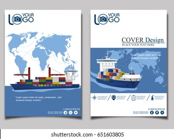 Sea shipping banner template set. Maritime container transportation, commercial transportation logistics. Worldwide freight shipping business company, global delivery service vector illustration