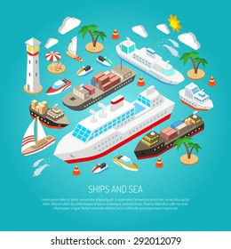 Sea and ships with ferries cargo boats yachts and beaches isometric concept vector illustration