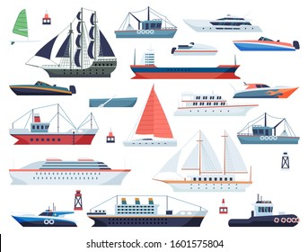 Sea ships. Fishing boat and big vessel for ocean travel on white background design isolated vector floating shipping set