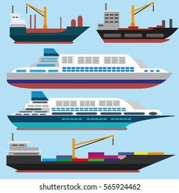 Sea ships flat icons.