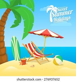Sea shore beach view. Summer tropic travel background design.