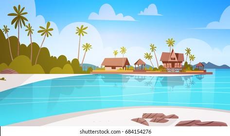Sea Shore Beach With Villa Hotel Beautiful Seaside Landscape Summer Vacation Concept Flat Vector Illustration