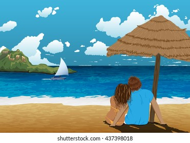 Sea shore picture with couple under parasol. Beautiful background picture. Couple on holidays. Hot vacation. Hot trip.